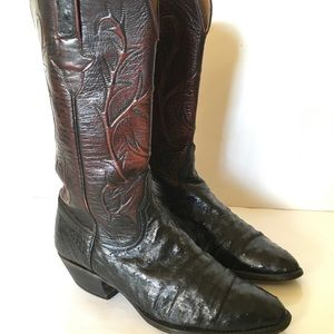 Lucchese Cherry Red Full Quill Ostrich Cowboy boot